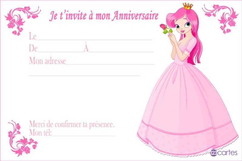 invitation anniversaire la belle princesse et la rose. Black Bedroom Furniture Sets. Home Design Ideas