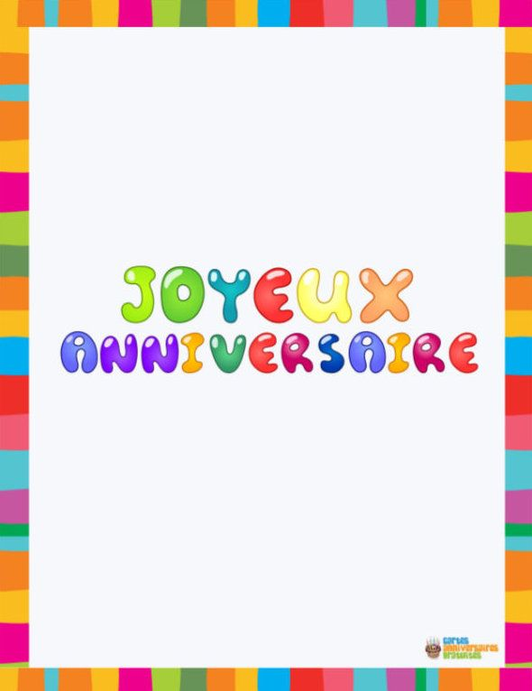 Carte anniversaire Bordure multicolores