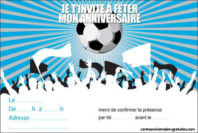 invitation anniversaire les supporters football 123cartes. Black Bedroom Furniture Sets. Home Design Ideas