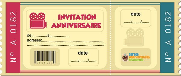 Top Invitation anniversaire Ticket cinéma - 123 cartes NN71