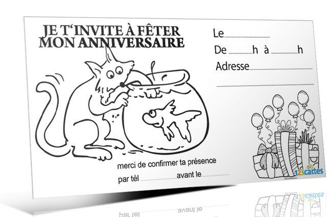 Invitation Anniversaire Chat Gourmand à Colorier 123cartes