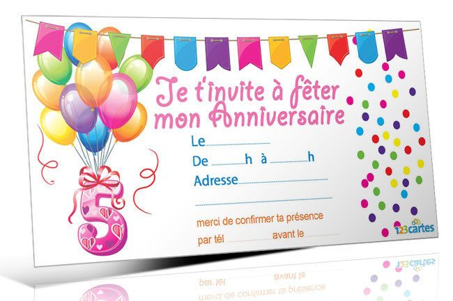 modele carte invitation anniversaire 5 ans document online. Black Bedroom Furniture Sets. Home Design Ideas
