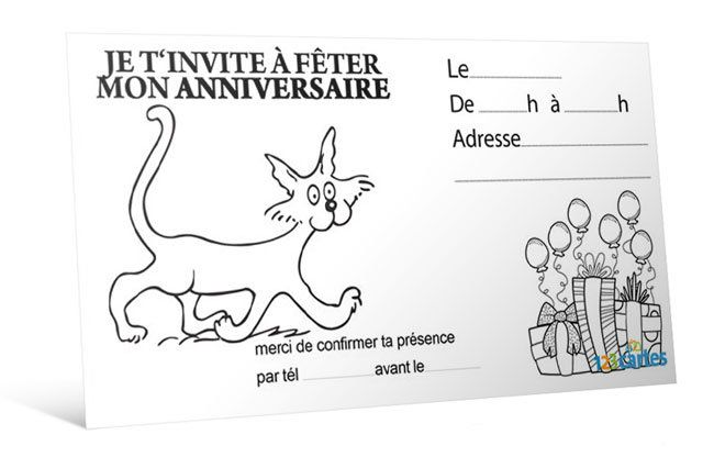 Extrêmement Invitation anniversaire Promenade chat à colorier - 123 cartes VM78