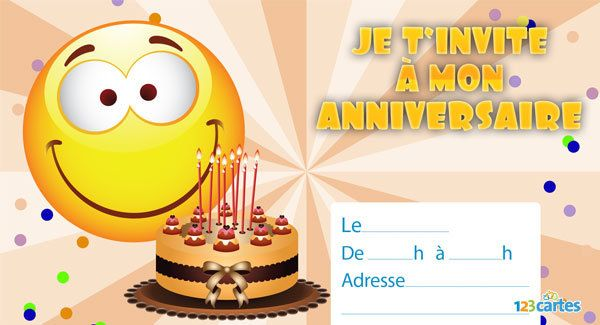 Relativ Invitation anniversaire Smiley en délire - 123 cartes IP63