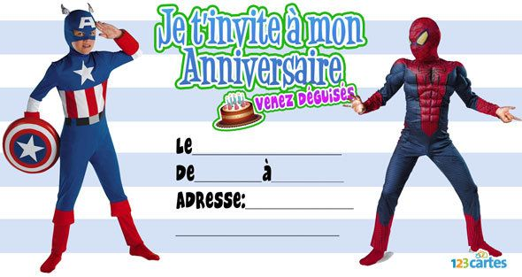 carte invitation anniversaire spiderman. Black Bedroom Furniture Sets. Home Design Ideas