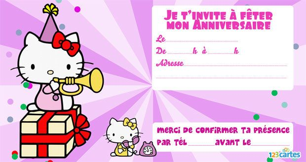 Invitation anniversaire hello kitty musicienne