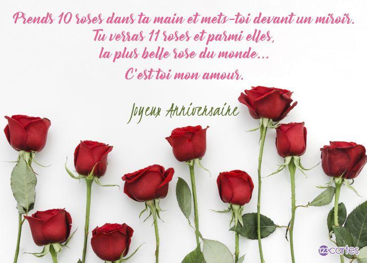 carte anniversaire avec une rose et un texte d'amour
