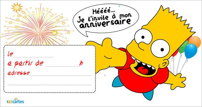 invitation anniversaire bart simpson 123 cartes. Black Bedroom Furniture Sets. Home Design Ideas