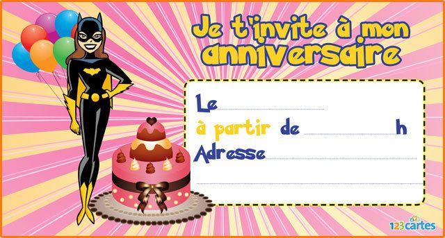 Super Invitation anniversaire Batgirl - 123 cartes KW39