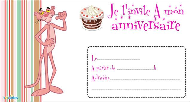 123 cartes invitation anniversaire la panth re rose - Image panthere rose ...