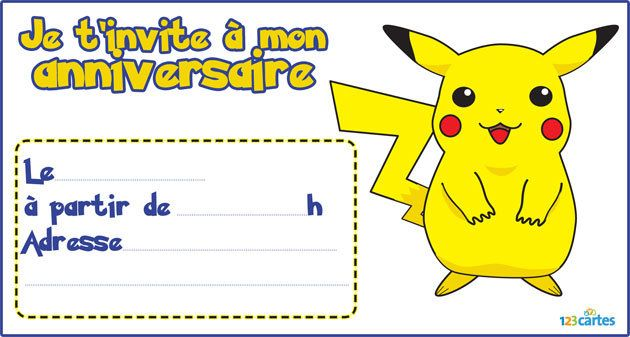123 cartes invitation anniversaire pikachu - Carte pokemon gratuite ...