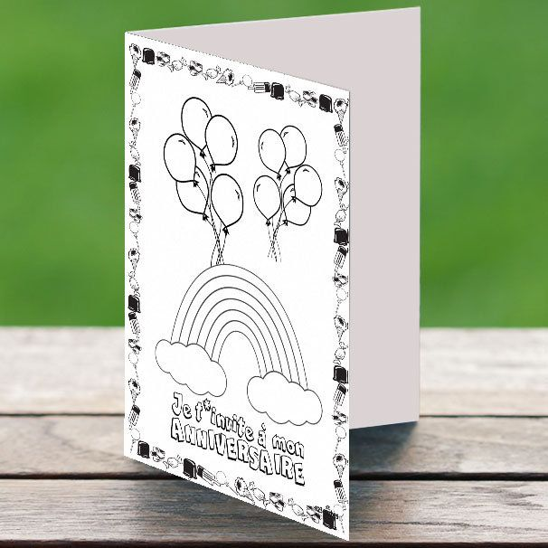 7 invitations a colorier arc-en-ciel
