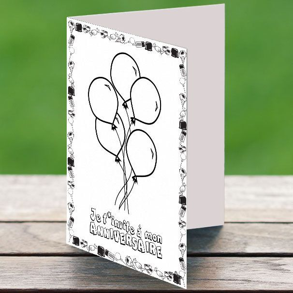 7 invitations a colorier ballons