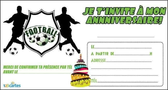 Favori Invitation anniversaire écusson foot - 123 cartes JN16