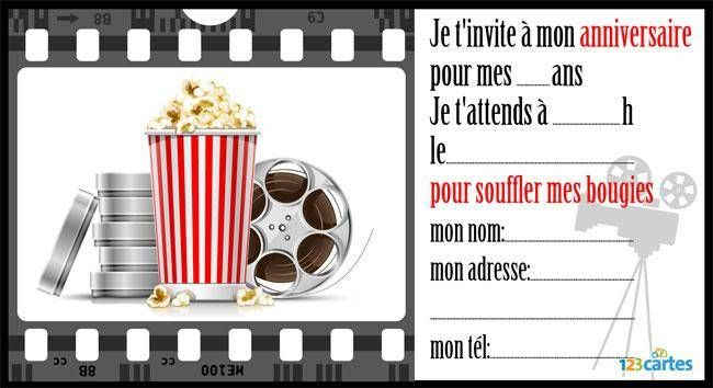 anniversaire cinema invitation
