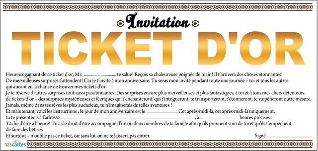 Häufig Invitation anniversaire Ticket d'or - 123 cartes DA58