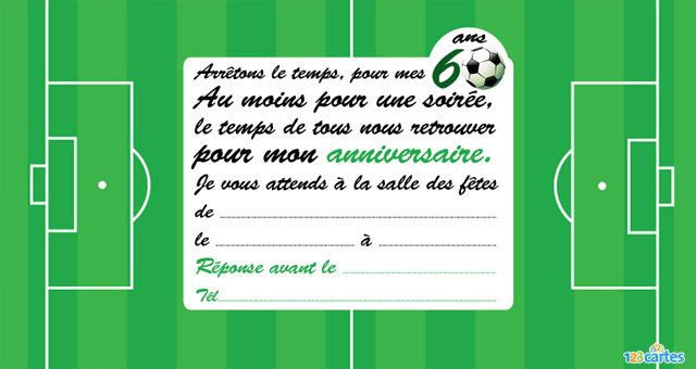 Bekannt Invitation anniversaire Football 60 ans - 123 cartes KQ67