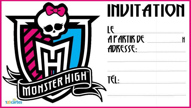 Invitation anniversaire Badge Monster High