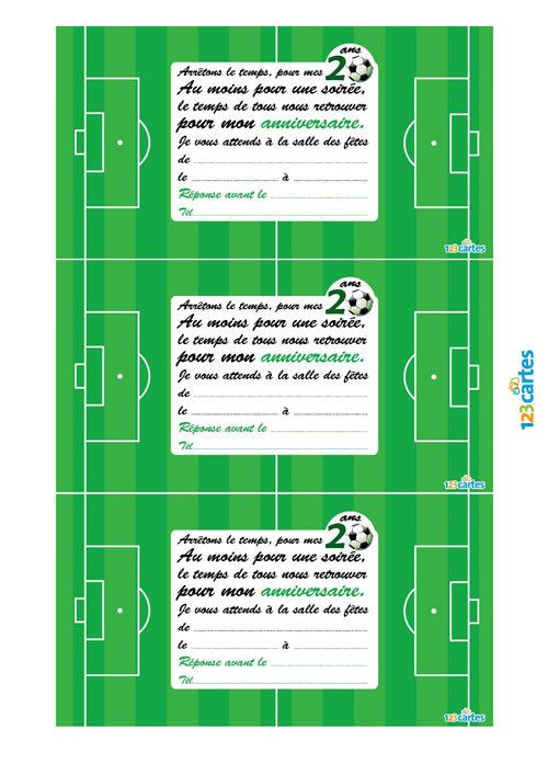 Invitation Anniversaire 20 Ans Football 123cartes