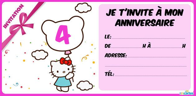 invitation anniversaire Hello Kitty 4 ans