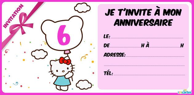 invitation anniversaire Hello Kitty 6 ans