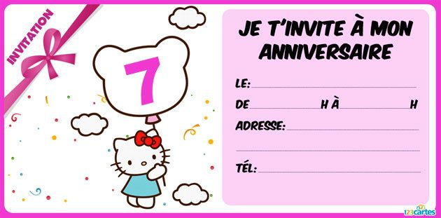 invitation anniversaire Hello Kitty 7 ans