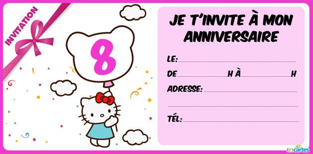 invitation anniversaire Hello Kitty 8 ans
