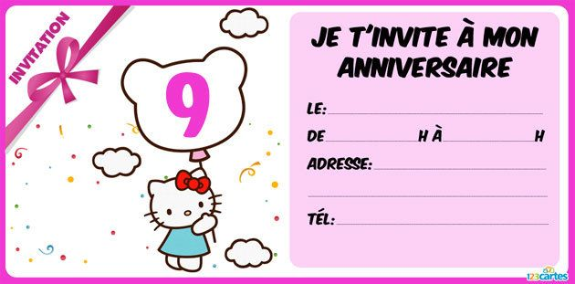 invitation anniversaire Hello Kitty 9 ans