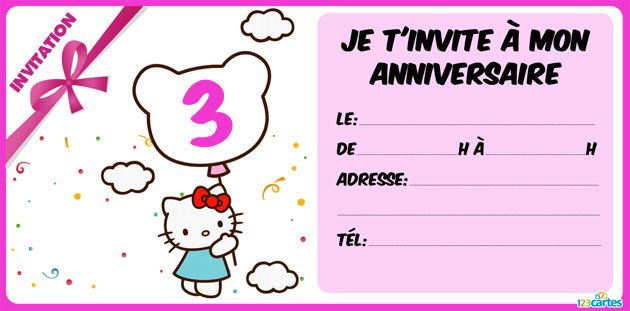 invitation anniversaire Hello Kitty 3 ans