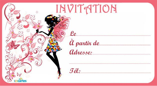 Top Invitation anniversaire Silhouette fée - 123 cartes ZK03