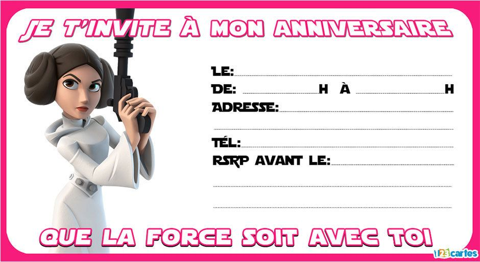 princesse leia invitation