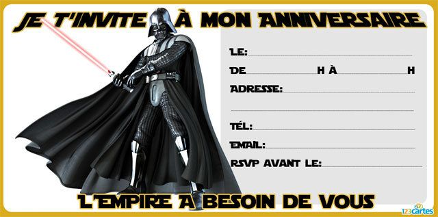 Invitation anniversaire Star wars - 123 cartes