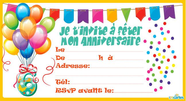 Turbo Invitation anniversaire Confettis de 3 à 9 ans - 123 cartes UH31