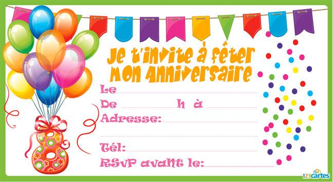 invitation anniversaire confettis de 3 9 ans 123 cartes. Black Bedroom Furniture Sets. Home Design Ideas
