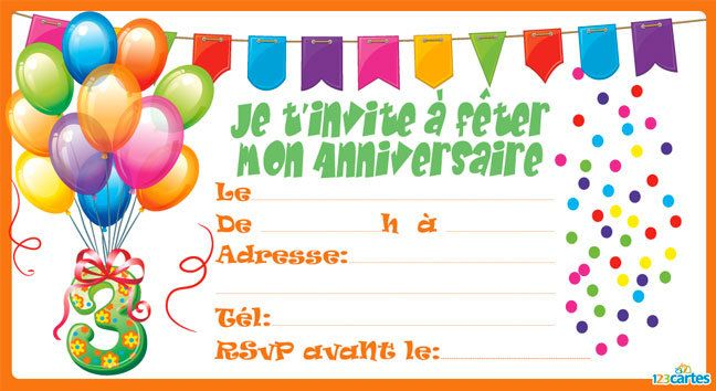 invitation anniversaire confettis de 3 9 ans 123cartes. Black Bedroom Furniture Sets. Home Design Ideas