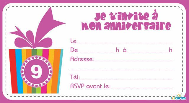123 cartes invitation anniversaire bo te cadeau de 1 9 ans. Black Bedroom Furniture Sets. Home Design Ideas