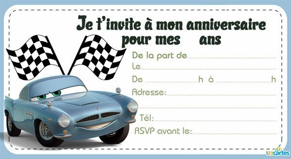 carte invitation cars anniversaire gratuite a imprimer. Black Bedroom Furniture Sets. Home Design Ideas