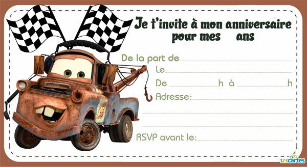 4 invitations cars 5
