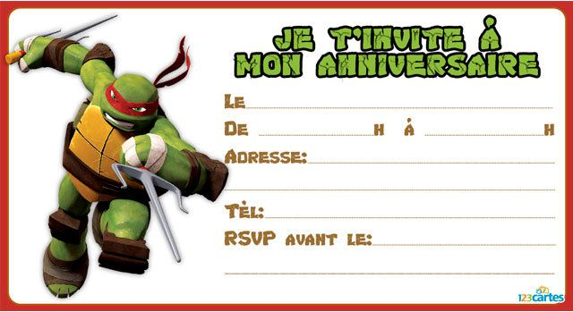 invitations anniversaire tortues ninja 123 cartes. Black Bedroom Furniture Sets. Home Design Ideas