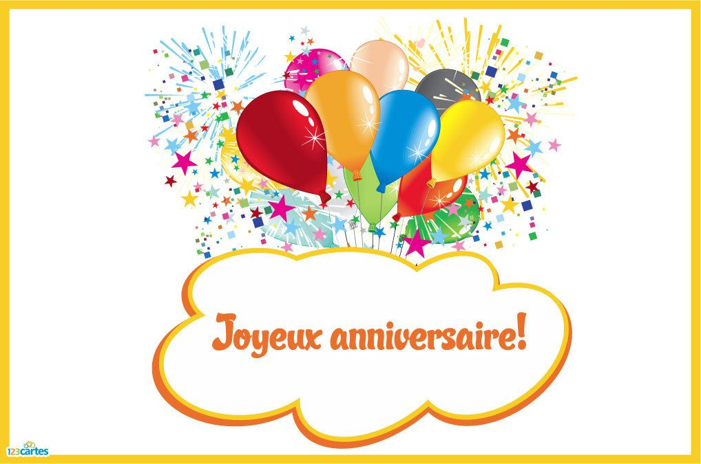 foto de Carte anniversaire Ballons et artifices 123cartes