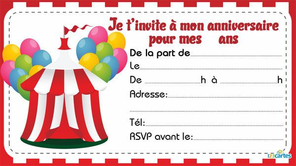 carte invitation anniversaire theme cirque