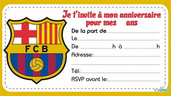 Top Invitation anniversaire Clubs de foot - 123 cartes TC38