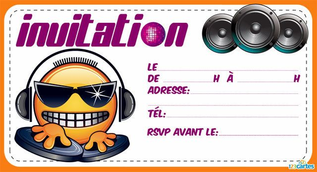 Souvent Invitation anniversaire Dj smiley - 123 cartes SK56