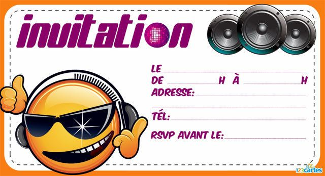 Souvent Invitation anniversaire Dj smiley - 123 cartes LN65