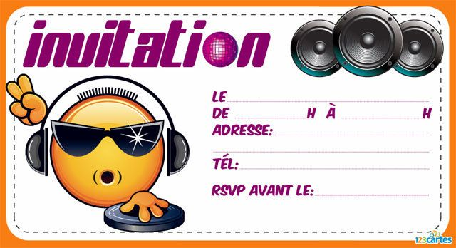 Bevorzugt Invitation anniversaire Dj smiley - 123 cartes RO71