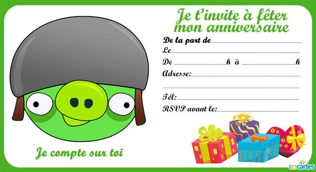 12 invitations anniversaire angry birds gratuits 123cartes - Cochon angry bird ...
