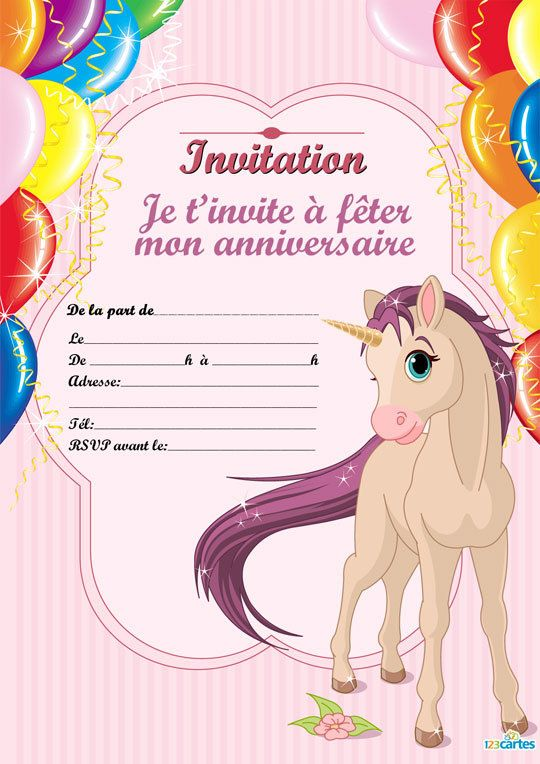 Beliebt Invitation anniversaire Cheval unicorne - 123 cartes FS68