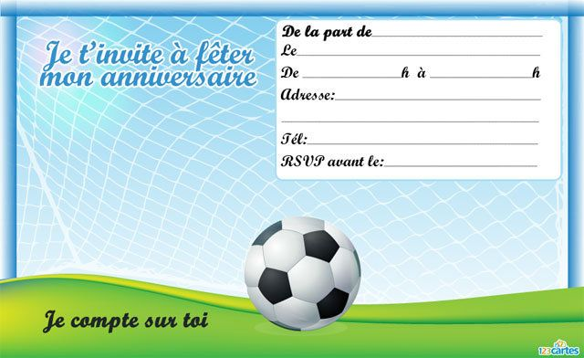 Extrêmement Invitation anniversaire En plein air - Football - 123 cartes ZR62
