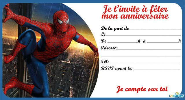 Invitation anniversaire spiderman en ville 123cartes - Photo de spiderman a imprimer gratuit ...