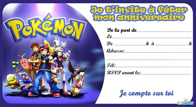 Top Invitation anniversaire les pokémon - 123 cartes ZB07